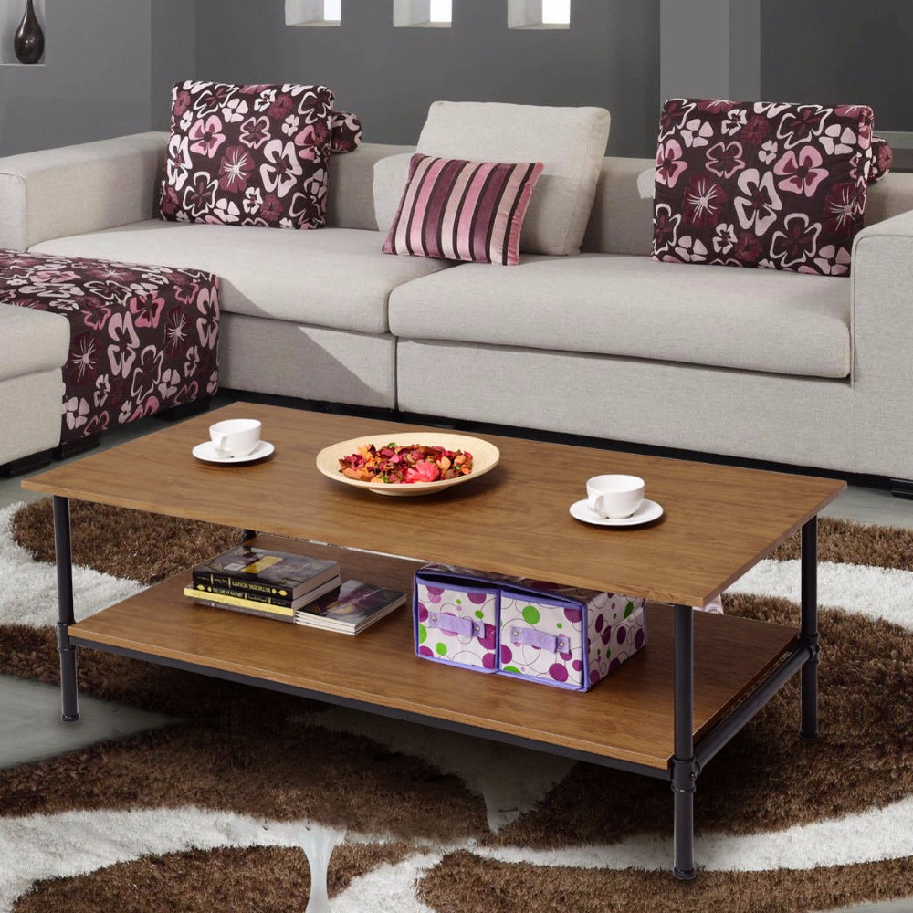 Giantex Rectangle Coffee Table Metal Frame Accent Cocktail Table with Storage Shelf New Living Room Furniture HW57352