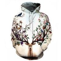 2017 New Wood Deer Head Art Hoody 3D Print Front Pocket Sweatshirts Elastic Autumn Outerwear Unisex Coat Winter