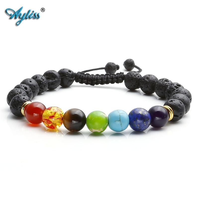 Ayliss 7 Chakra Healing Balance Bracelets Femme Lava Yoga Reiki Prayer Wish Stones XMAS Pulseras 8mm Bracelet Femme Mother's Day