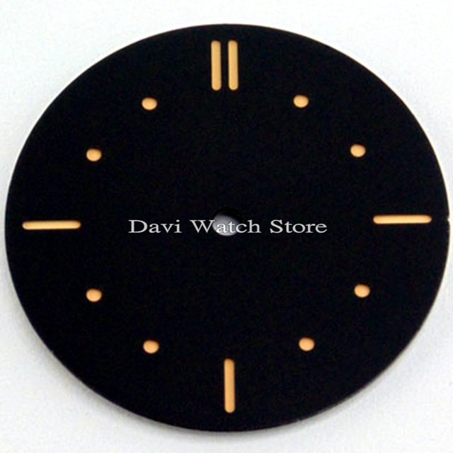 38 9mm watch replacement black dial for eta 6497 seagull st36 watch