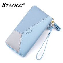Women Wallet 2019 Long Patchwork Tassel Zipper Clutch Purse Large Capacity Leather Coin Purse Cell Phone Purse Female Wallets