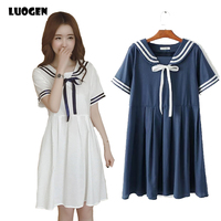 Summer Women Girl Preppy Style Dress Short Sleeve Sailor Suit Sailor Collar Sweet Gift Japanese Dress