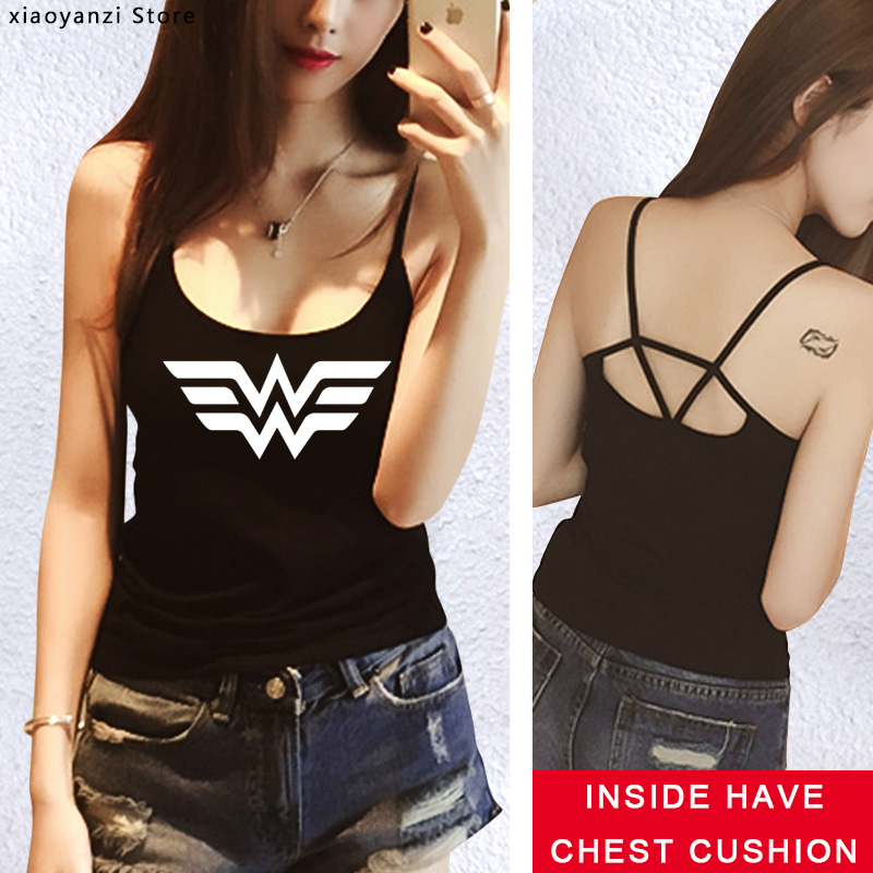 High Quality Elastic tank top Women Tee shirt Anime Wonder Woman