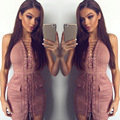 Elegant Bandage Dress Women Sleeveless Summer Women's Dresses With Pocket Sexy Bodycon Party Club Dress For Women