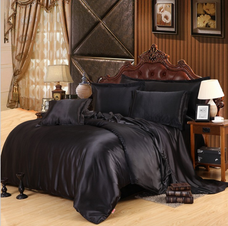 imetated silk bedding set 34pc home textile bed linen set clothing of bed bedcloth - Silk Bedding