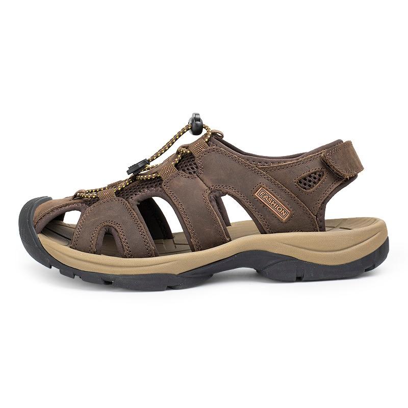 adf3c390794cc9 LINGGE Genuine Leather Men Sandals Cow Leather Men Summer Beach Breathable  Men Sandal Rubber Sole Causal Shoes Plus Size 38-45