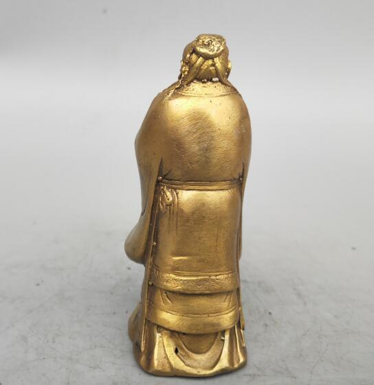 China seiko carving Pure brass Confucius small statue