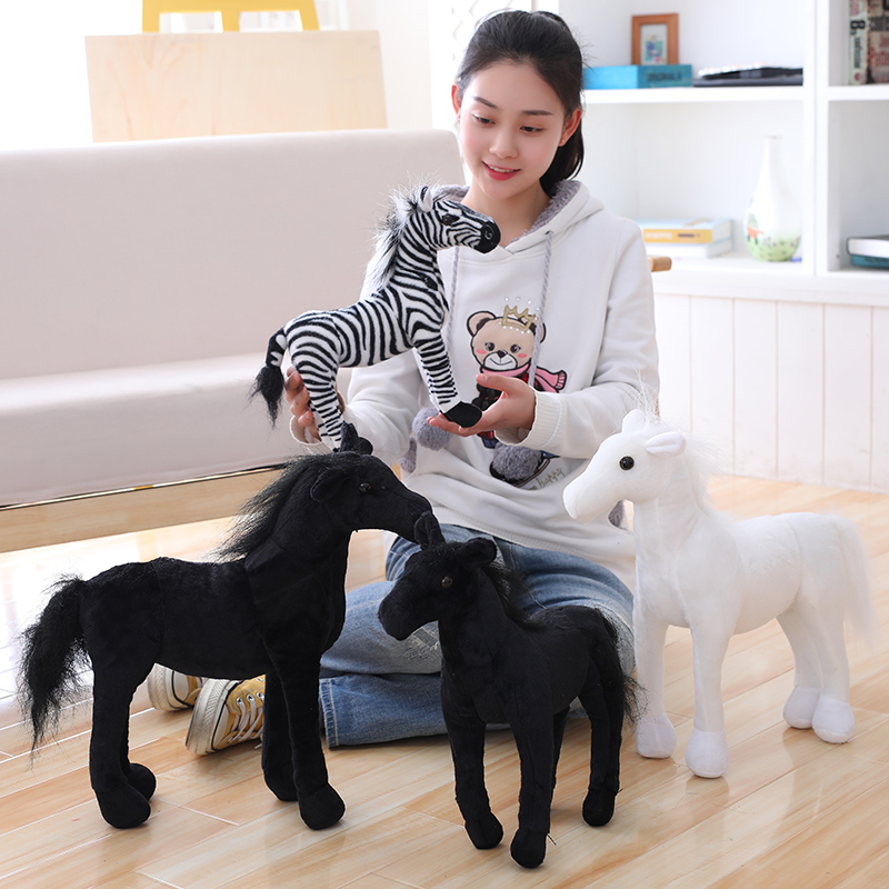 Simulation Horse Plush Toys Stuffed Animal Toy Lifelike Zebra Doll Cute Black White Horse Toy Kids Birthday Gift recur toys high quality horse model high simulation pvc toy hand painted animal action figures soft animal toy gift for kids