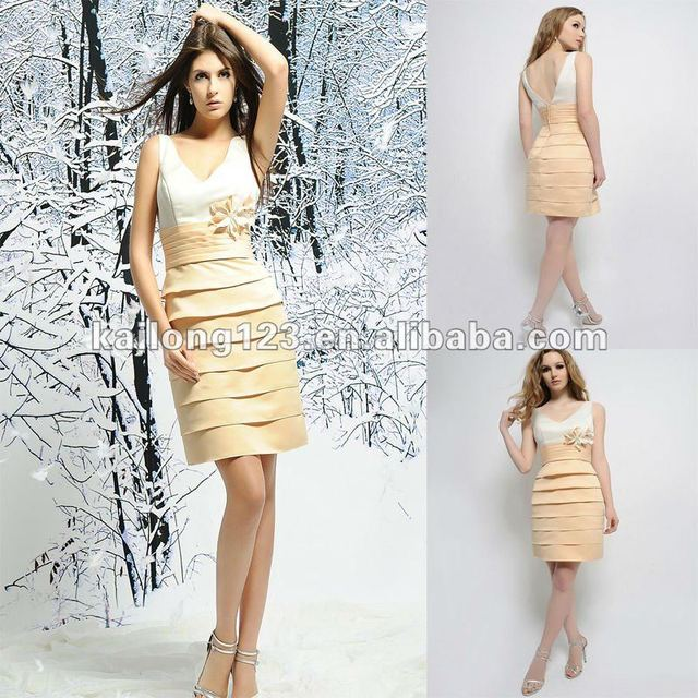 Chic Tank Style V neck Knee length Cream Gold Sheath With Beaded ...
