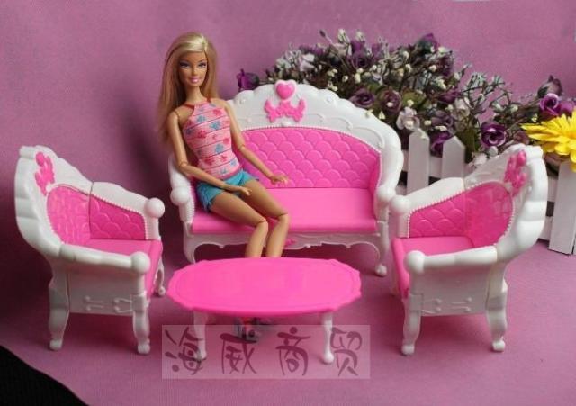 Hadiah kanak-kanak plastik sofa vintaj meja sofa sofa 6 item / Set - Anak patung dan aksesori - Foto 2