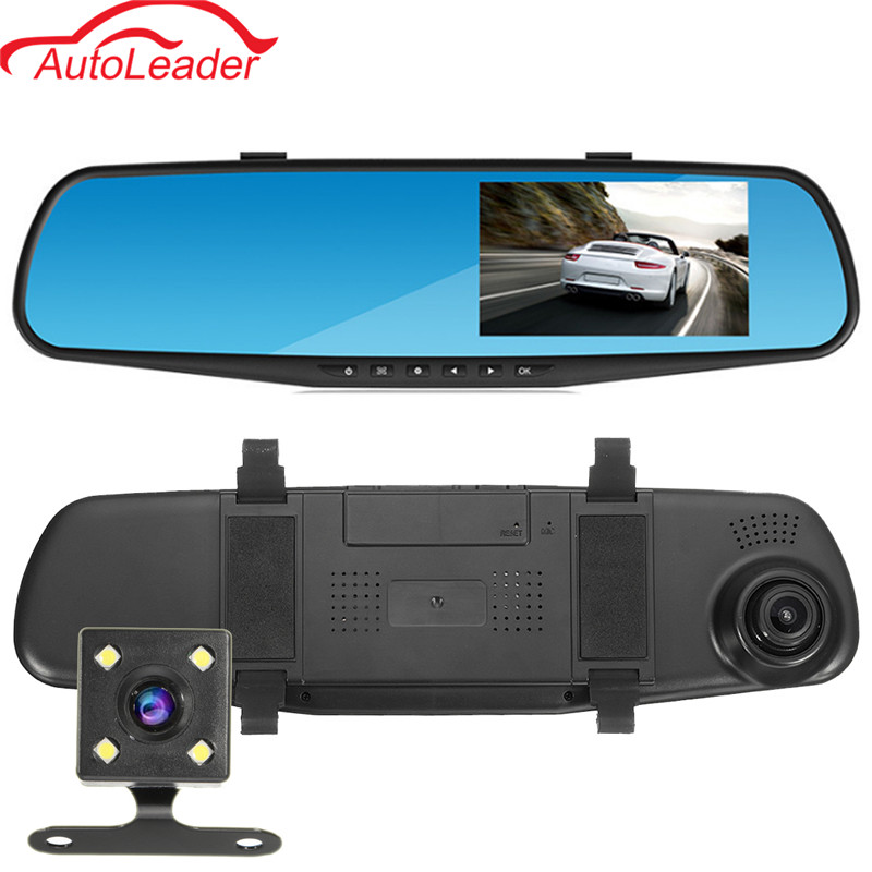 4.3'' Car DVR Dual Camera Full HD 1080P Video Recorder Rearview Mirror With Rear View Automobile DVR Mirror Dash Cam Car DVRs цена
