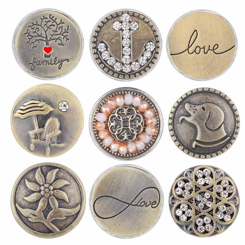 Antique Brass design Snap button 18mm Snap Charms fit Ginger Snaps jewelry Vn-1988