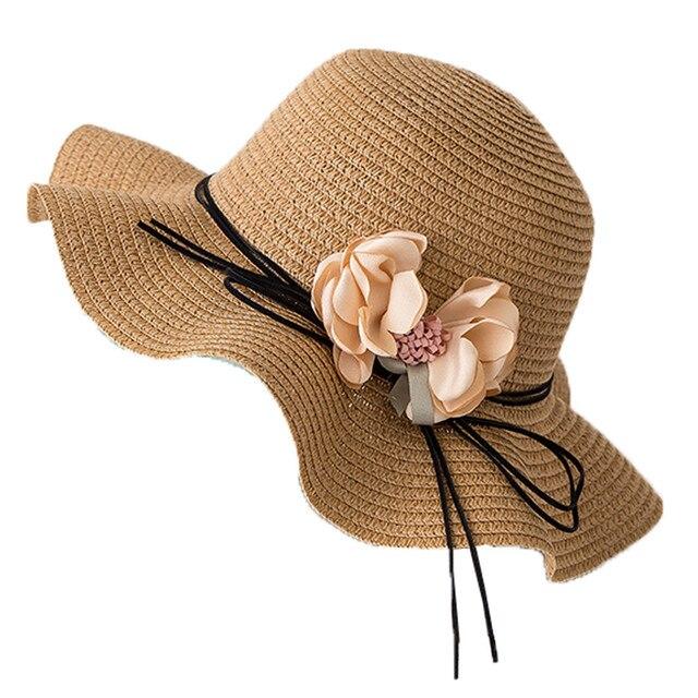 Wide Straw winter hats for women natural Foldable Travel Flower Sun Hat Summer Beach Caps zonnehoed dames casquette gorras P7
