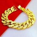 15MM wide cuban link chain bracelet for men  yellow gold filled tank wheel chain retro domineering bracelet 22cm long