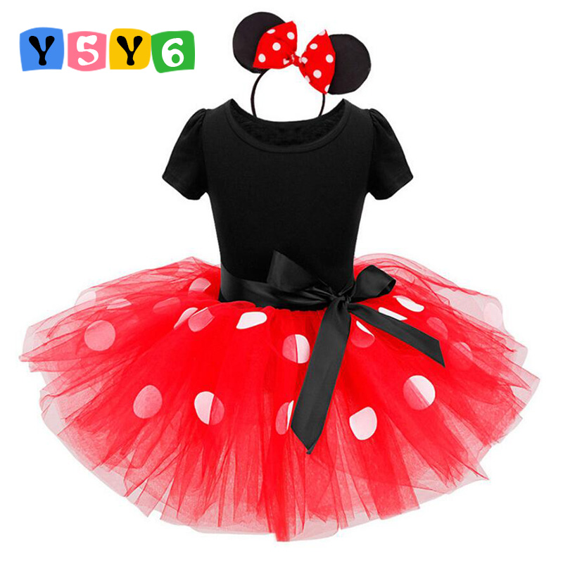 2018 ամենաթարմ նվերներ Minnie tutu Party Dress Fancy Costume Cosplay Girls Minnie Dress + Headband 12M-7Y մանկական մանկական հագուստ կարմիր