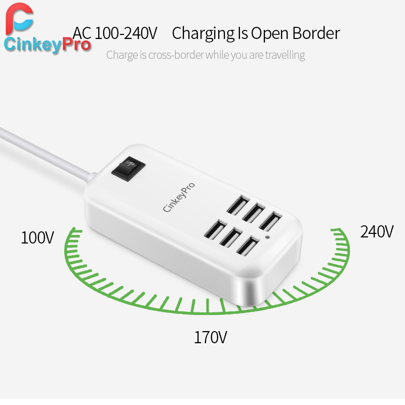 CinkeyPro EU Plug 6 θύρες φορτιστής USB - Ανταλλακτικά και αξεσουάρ κινητών τηλεφώνων - Φωτογραφία 4