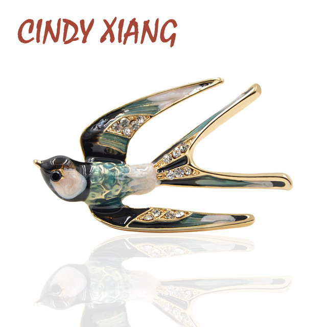 CINDY XIANG 2018 New Arrival Enamel Swallows Brooches for Women Cute Animal Pin