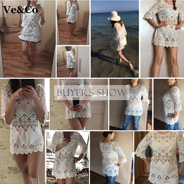 Women Lace Cover Ups Swimwear 2017 Summer Sexy Bikini Pareo Beach Cover Ups Beachwear Women Dress Cotton Bathing Suit  Cover Ups