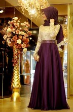 2016 A Line Purple Formal Long Sleeve Muslim  Dress Hijab Islamic Dubai Abaya Kaftan Bow Beaded  wedding dress