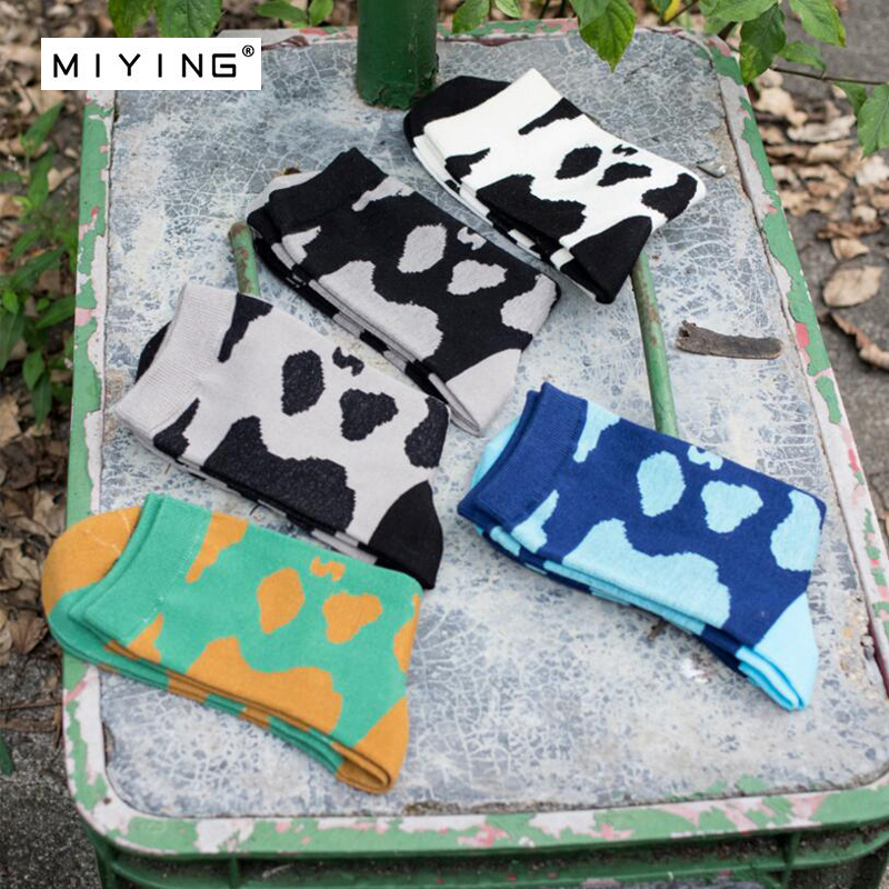 MIYING 5pairs Casual Harajuku Socks Mens Hipster Long Socks Popular Skateboard Milk Cow Spot Pattern Sock For Man Boy Youth