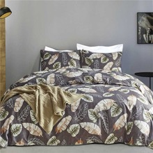 Pretty Leaves Design Bed Linen Home Textile Bedding Set Pillowcases Comforter Cover Feather Grey Duvet Cover Set Soft Bedclothes