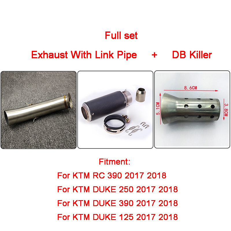 Full Set of Motorcycle Exhaust Muffler Silencer Middle Link Pipe For KTM DUKE 390 250 125