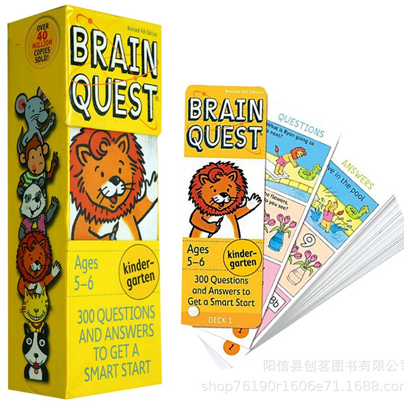 1BOX BRAIN QUEST English Children's Study Cards Books 5-6 Years Old Ages Children's Book-of-the Month Club