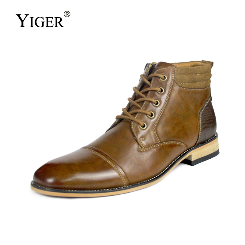 YIGER New Men Martins Boots Genuine Leather Large Size 40-47 Winter Leisure Lace-up Man Shoes Ankle Boots Male Chelsea Boots 207