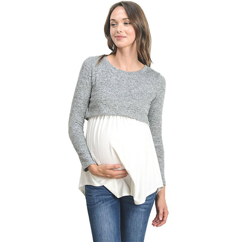 Long Sleeve Breastfeeding Pregnancy Tops Nursing Maternity Clothes For Pregnant Women Feeding Shirts Maternity Tees Clothing fashion cotton padded maternity shirts autumn winter fashion thick knitted long sleeve pregnancy tops loose maternity clothes