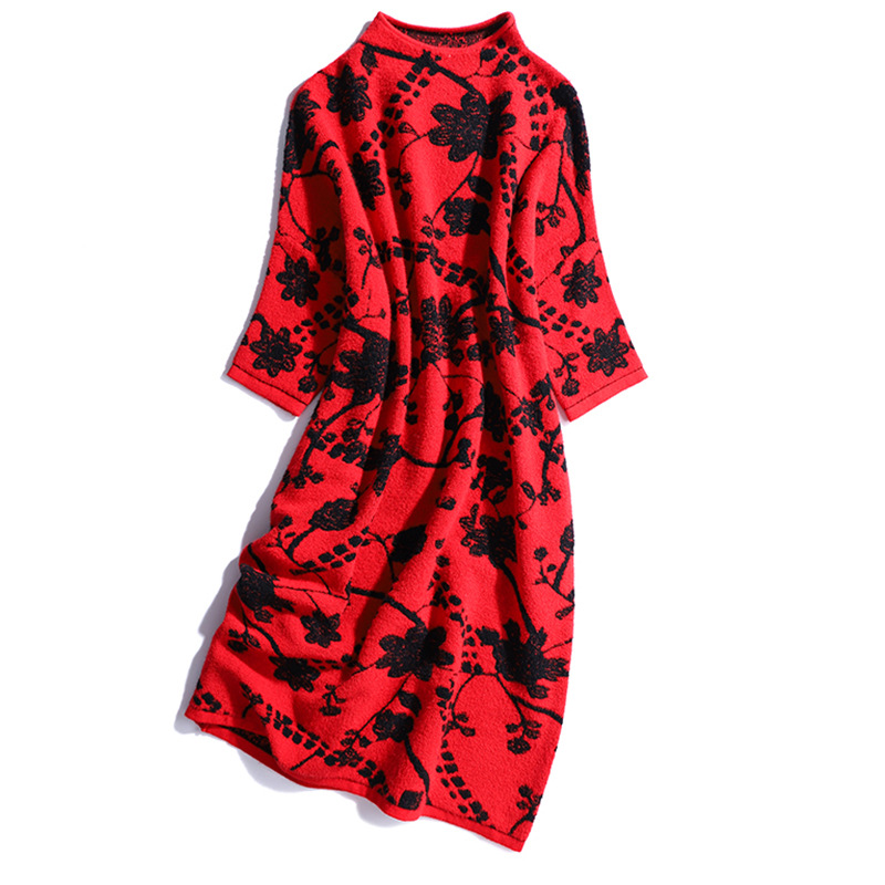 Robe Robes Tricoté Chandail Jumper Vintage Jacquard Femmes Pulls Long 2018 Rouge Hiver Pull Casual Automne Chaud dUdgpq