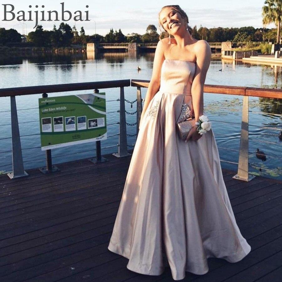 Newest A Line Long   Evening     Dresses   Elegant Satin Vestido De Festa Strapless Party Formal Prom Pageant Ball Gowns Lace Up Corset