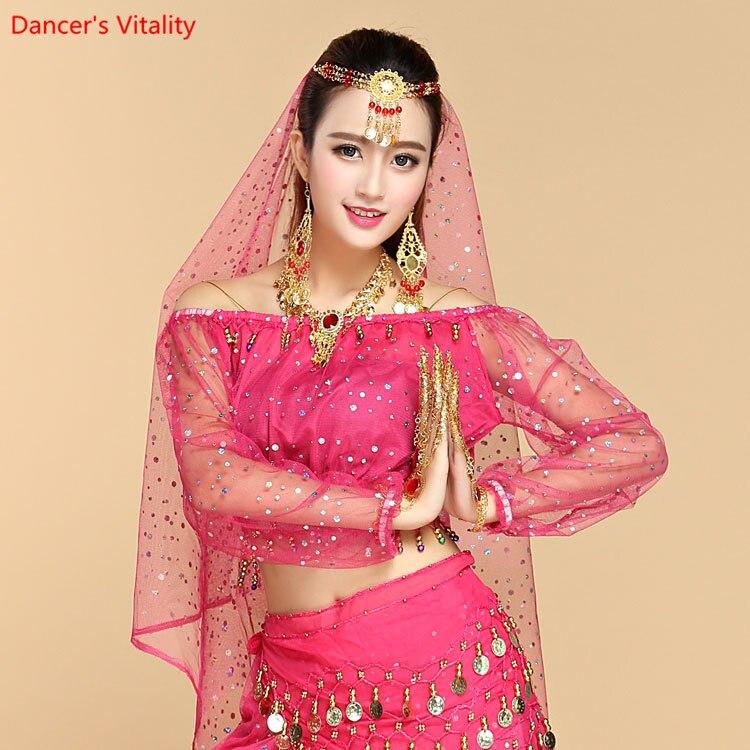 Long Sleeve Off Shoulder Adult Women Belly Dance Tops 6 Colors Kids Chiffon Gypsy Costume Dancewear Tops