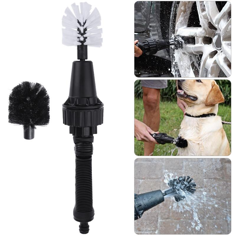 Portable Car Wheel Brush Plastic Handle Car Washer Water Spray Brush Handheld Rotate Tire Rim Cleaning Brush Tool Pet Bathing