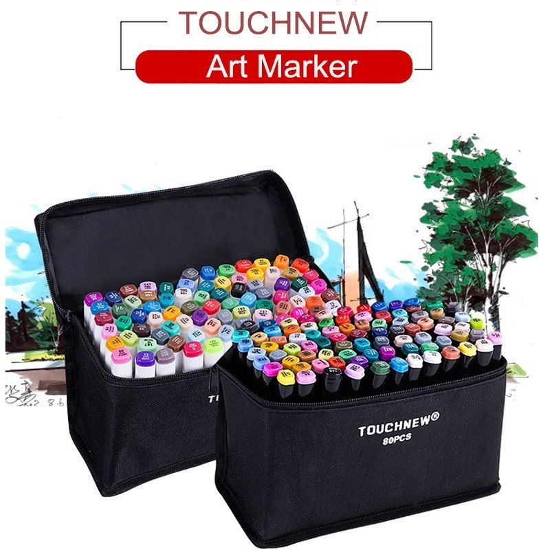 TOUCHNEW 30/40/60/80 Colors Art Markers Alcohol Based Markers Drawing Pen Set Manga Dual Headed Art Sketch Marker Design Pens touchnew artist double headed sketch marker set 30 40 60 80 colors alcohol based manga art markers for drawing design supplies