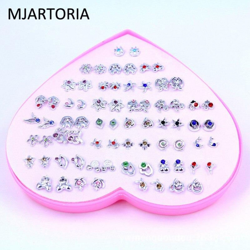 Stud-Earrings-Set Jewelry-Set Gifts Plastic Multicolor Cartoon Cryatal Women for Girl