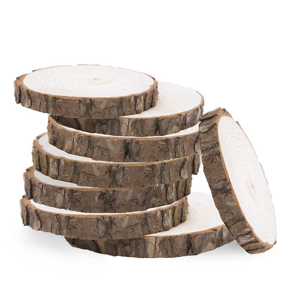 10 ピース未完ラウンド木材スライス円樹皮ログ Diy のためのディスク工芸品結婚式のパーティーの装飾