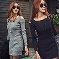 Mujeres casual dress vestidos 2017 nuevo otoño estilo de la moda de primavera de manga larga de punto vestidos de corto mini dress atractivo del club femenino