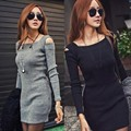 Women Casual Dress Vestidos 2017 New Autumn Spring Fashion Style Long Sleeve Knitted Sexy Club Female Dresses Short Mini Dress