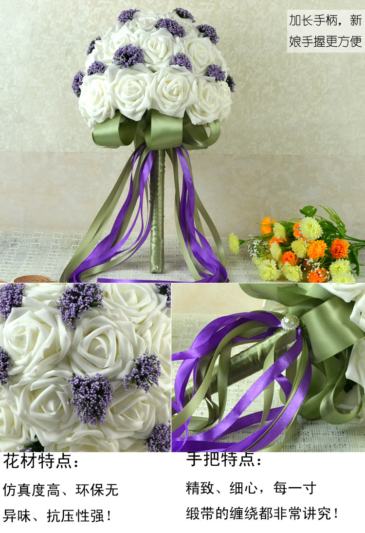 PRETTY Foam Rose Bouquet da sposa in rosa Mazzi da sposa bianchi e - Per vacanze e feste