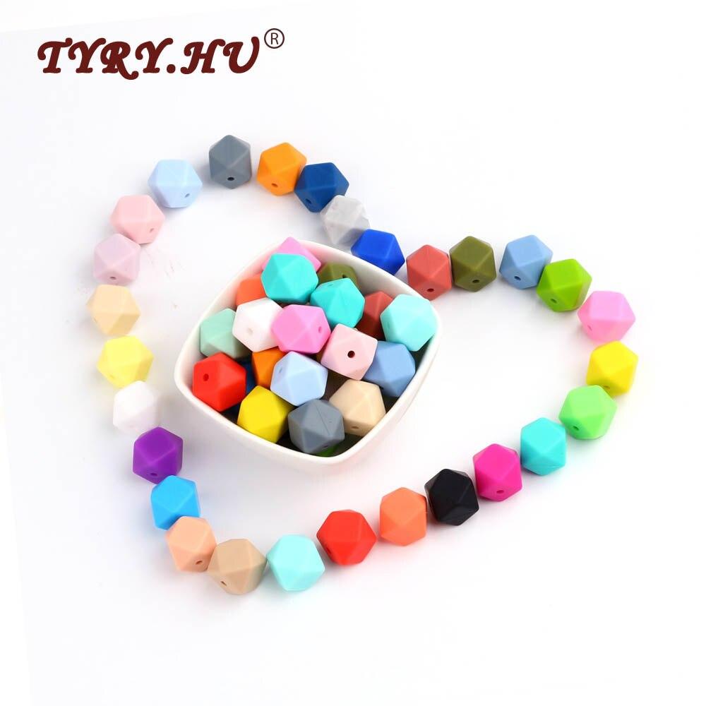 TYRY.HU BPA Free 10Pcs 14mm Hexagon Silicone Beads Teether Beads Baby Girl Favorites DIY Jewelry Bracelet Crib Toy Food Grade