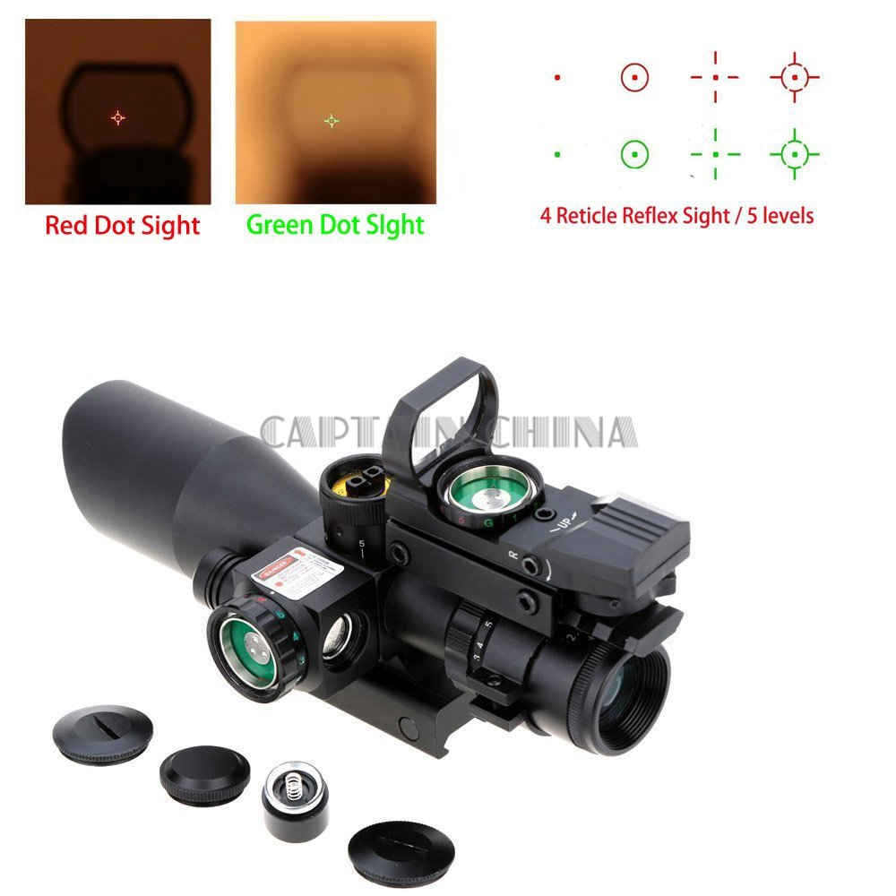 2.5-10X40 Hunting Riflescope Red Green Laser Dual Illuminated Scope Mil-dot Rail Mount Shockproof Hunting Tactical Riflescope 3 10x42 red laser m9b tactical rifle scope red green mil dot reticle with side mounted red laser guaranteed 100%