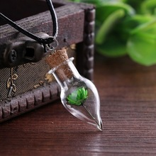 Men women original handmade DIY glass bottle necklace natural Little Daisy Flower Pendant Necklace sweater chain