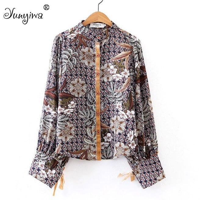 Для женщин блузка Рубашки для мальчиков Повседневные принты Большие размеры Blusa длинный рукав зубчатый Топы корректирующие blusas