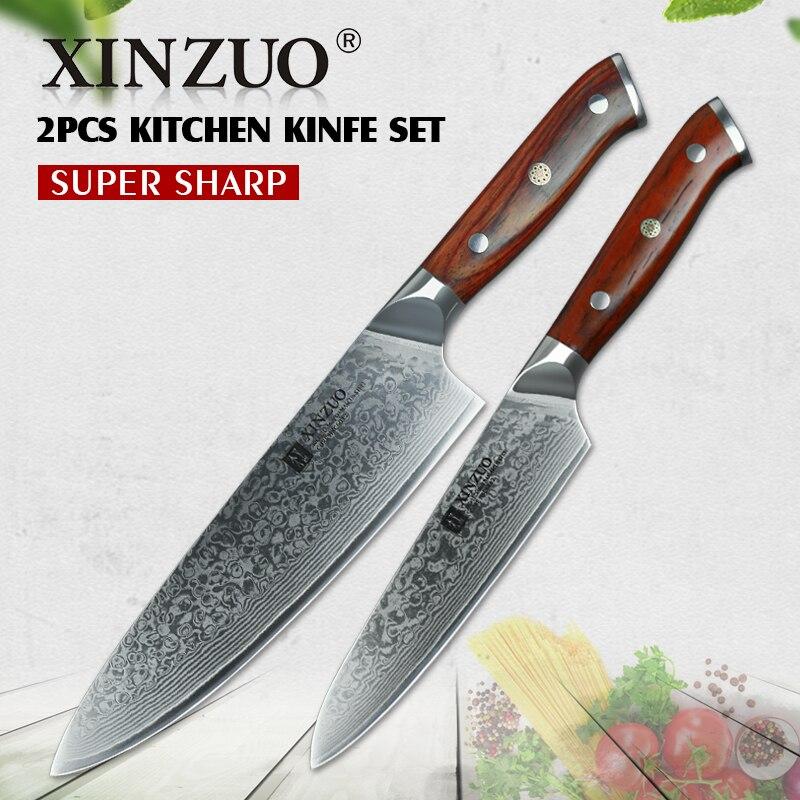 XINZUO 2 pc Cuisine Chef Ensembles de Couteaux Damas Acier Chef Professionnel Couteaux En Acier Inoxydable Coupeur de Viande Barbecue Couteaux