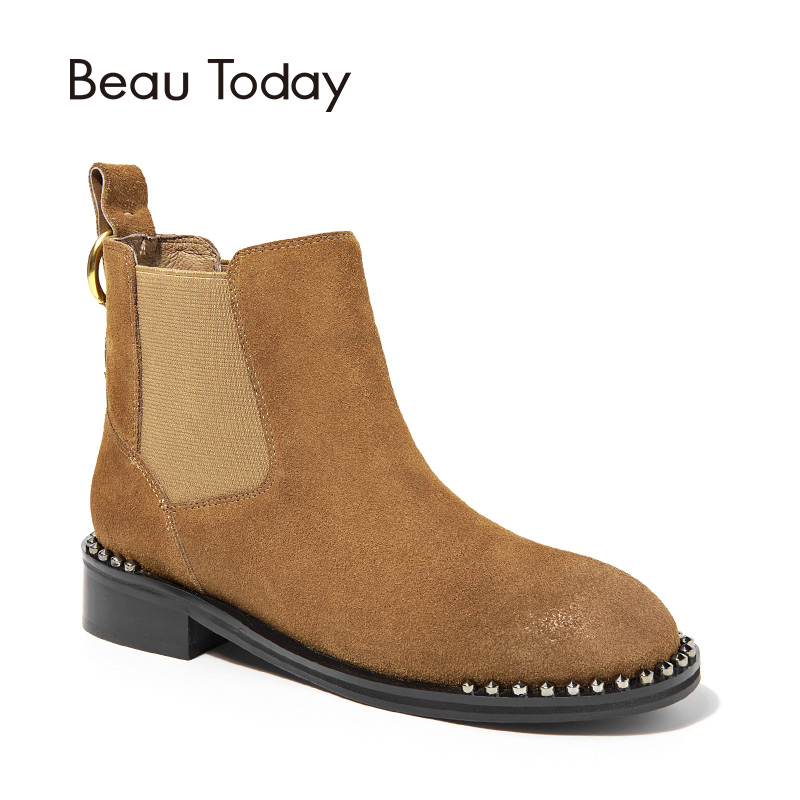 BeauToday Chelsea Boots Women Handmade Genuine Leather Cow Suede Boot Band Round Toe Ankle Metal Decoration Lady Shoes 03057 farvarwo formal retro buckle chelsea boots mens genuine leather flat round toe ankle slip on boot black kanye west winter shoes