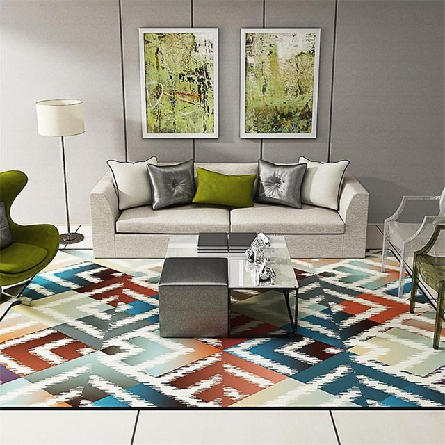 80 140cm Geometric Colourful Rug For Living Room Parlor Anti Slip