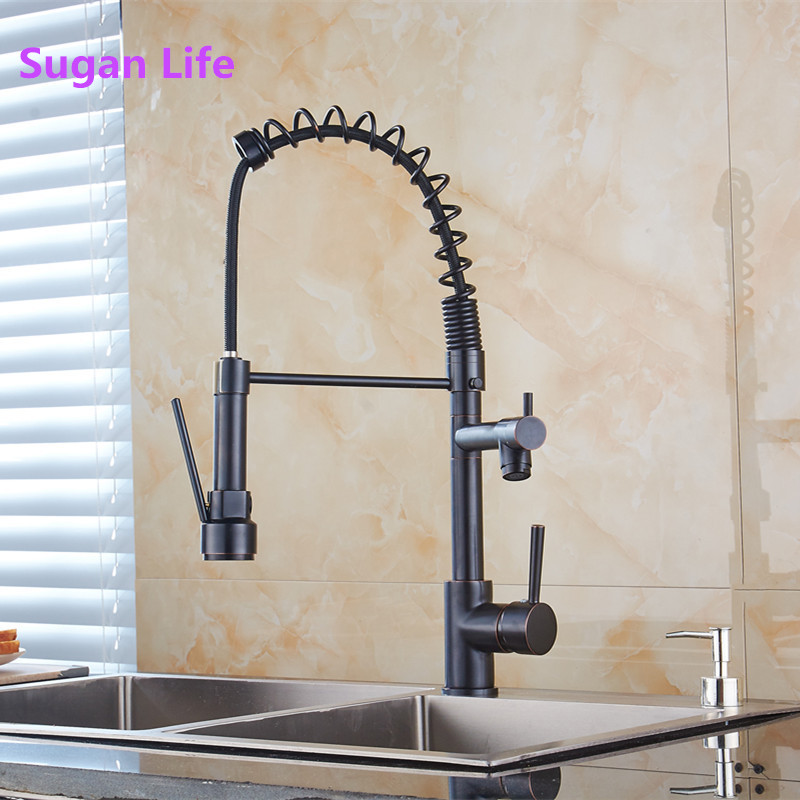 360 Rotation Kitchen Faucets Blackend Spring Kitchen Faucet Pull out Side Sprayer Dual Spout Single Handle Mixer Tap Sink Faucet360 Rotation Kitchen Faucets Blackend Spring Kitchen Faucet Pull out Side Sprayer Dual Spout Single Handle Mixer Tap Sink Faucet
