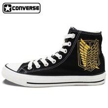 Anime Attack On Titan Design Converse All Star Shoes Custom Wings Jiyuu no Tsubasa Hand Painted High Top Black Canvas Sneakers