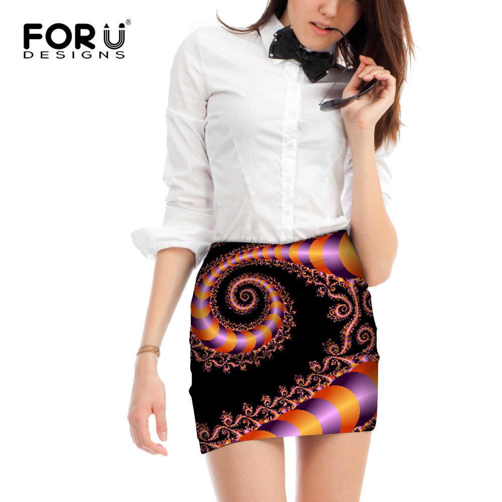 FORUDESIGNS 3D spódnica damska spódnica ołówkowa w stylu Retro damska obcisła z wysokim stanem spódnica biodrówka krótka Femme Vortex kwiatowy wzór M L