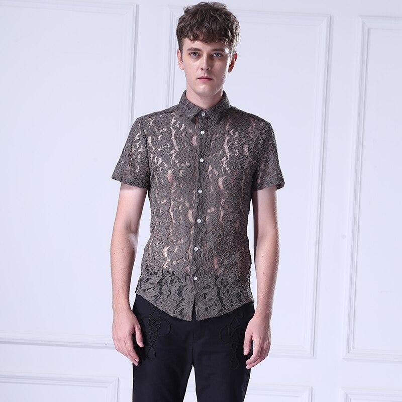 Mâle De Marques Camisa Mode Dentelle Manches Mince À Chemise Hommes Homme Courtes Vedette Fanzhuan Vêtements Chemises Vetement Masculina Khaki Fzxqy45